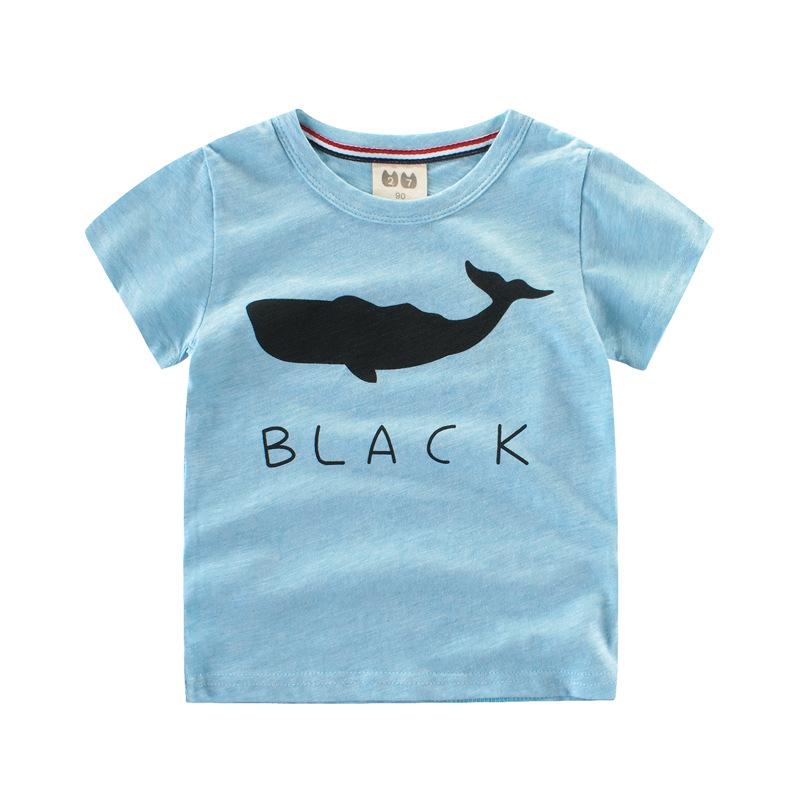 เสื้อแขนสั้นสีฟ้าลายปลาวาฬ แพ็ค 6 ชิ้น [size 2y-3y-4y-5y-6y-7y]