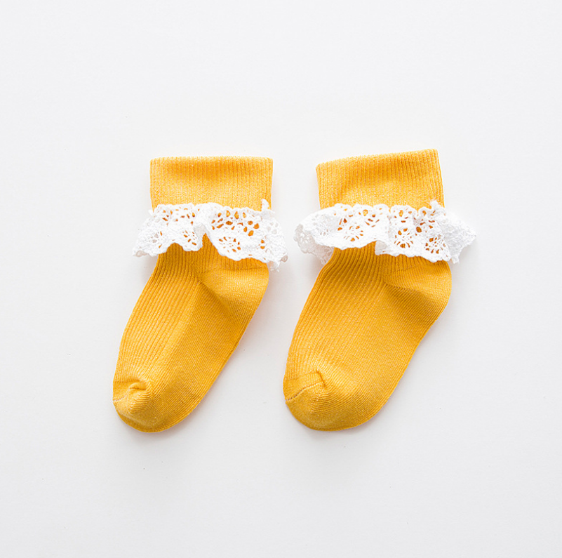 ถุงเท้าสั้น สีเหลือง แพ็ค 10 คู่ ไซส์ ประมาณ 1-3 ปี