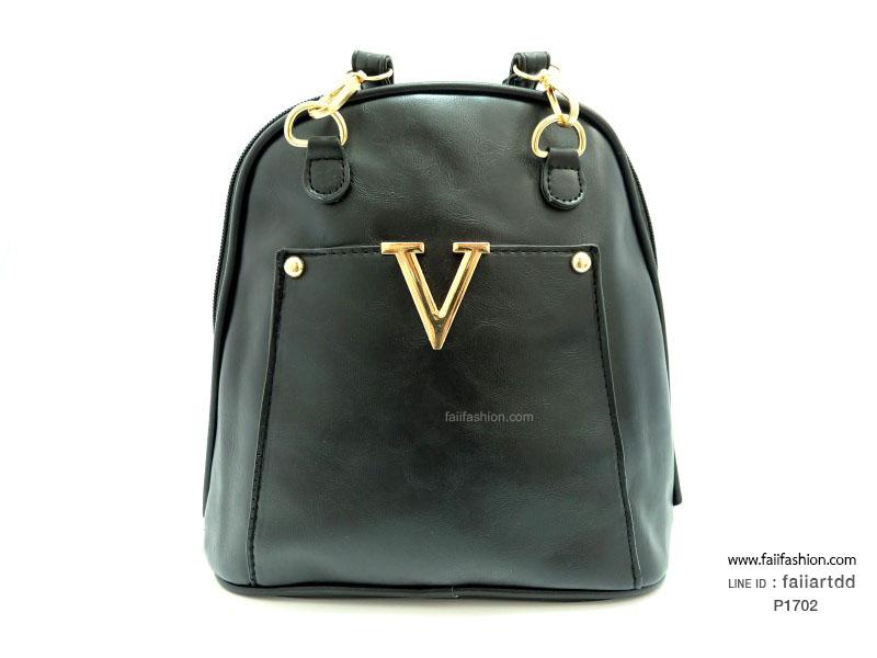 กระเป๋าแฟชั่น สไตล์เกาหลี ปรับเป็นเป้หรือสะพายข้างได้ แต่งอะไหล่ตัวVสีทอง