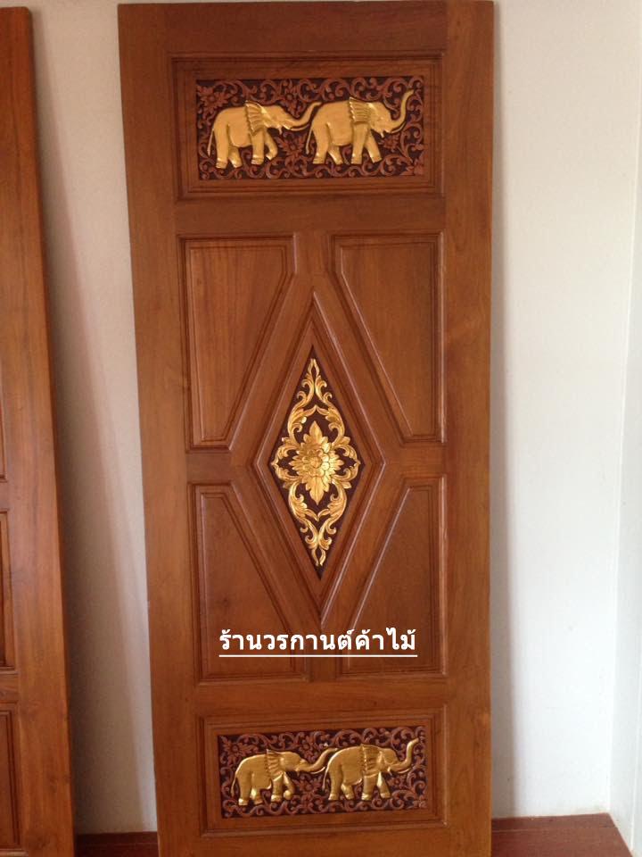 ประตูไม้สักบานเดี่ยว แกะช้าง เกรดA, B+ รหัส C71