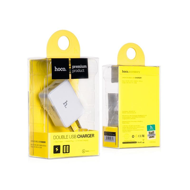 ที่ชาร์จ Hoco Double USB Charger UH204 2.1A สีขาว