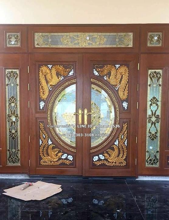 ประตูไม้สักกระจนิรภัย ชุด7ชิ้น รหัส AAA138