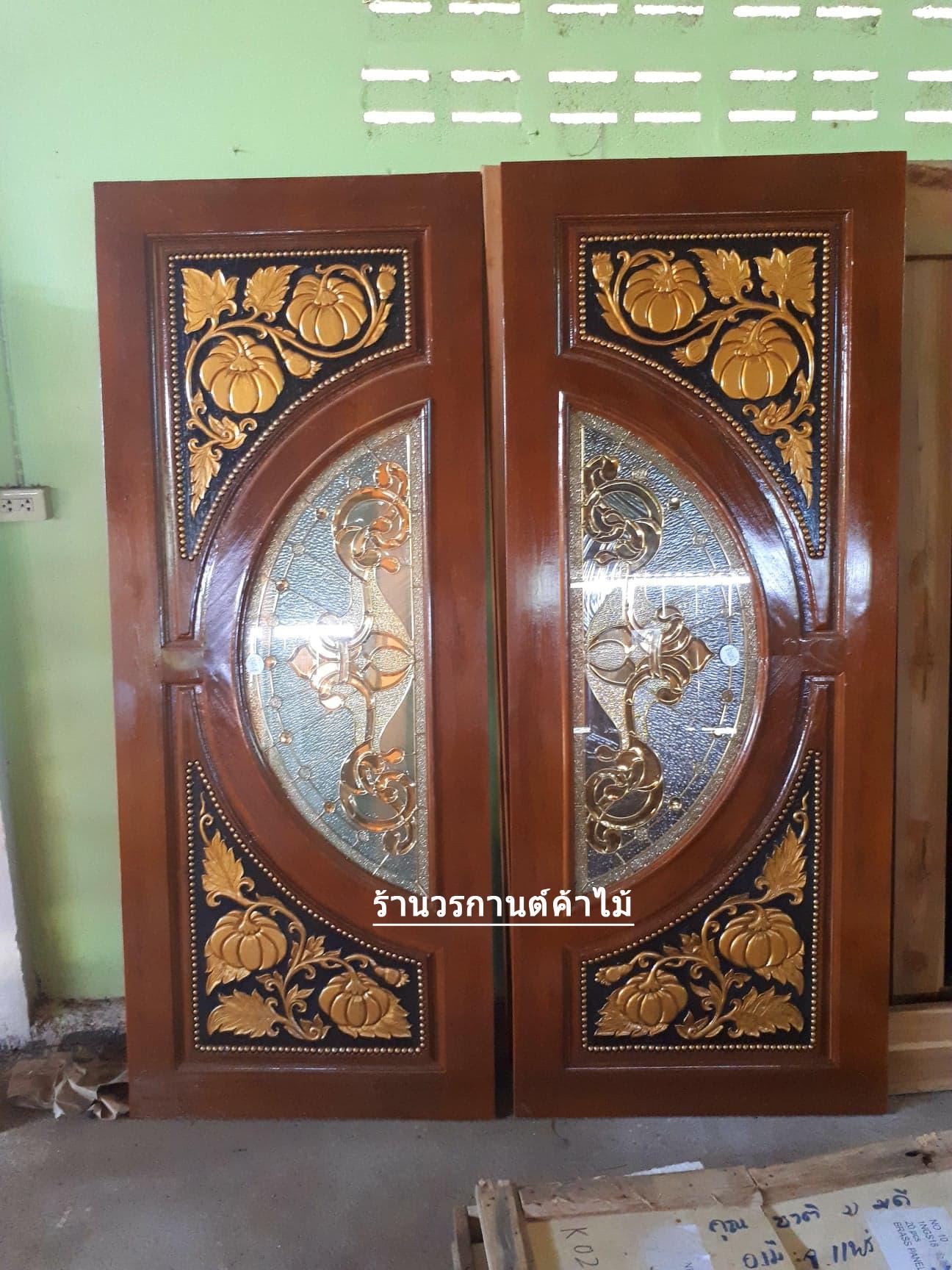 ประตูไม้สักกระจกนิรภัย ฟักทอง เกรดA, B+ รหัส A123