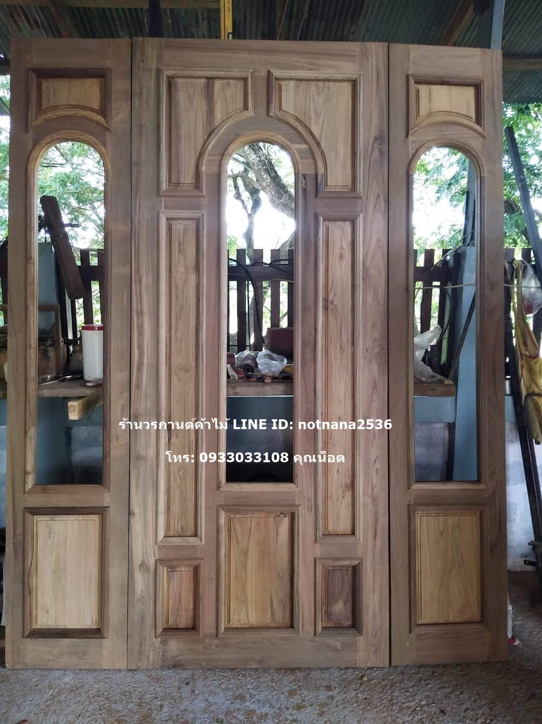 ประตูไม้สักเก่าเกรดA ชุด3ชิ้น รหัสNOT14