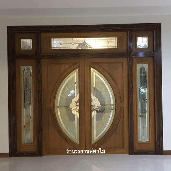 ประตูไม้สักกระจกนิรภัย เปิด-ปิด ชุด7ชิ้น เกรดA รหัส NOT26
