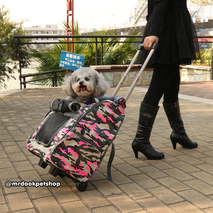 กระเป๋าแบบมีล้อลาก เป้สะพายใส่สัตว์เลี้ยง (ลายทหาร สีเขียว)