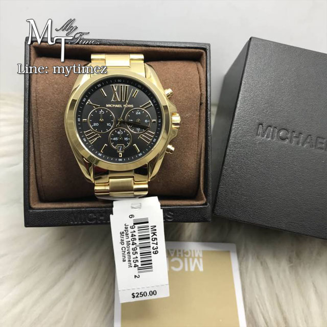 นาฬิกาข้อมือ MICHAEL KORS รุ่น Mid-Size Bradshaw Chronograph Black Dial Gold-tone Ladies Watch MK5739