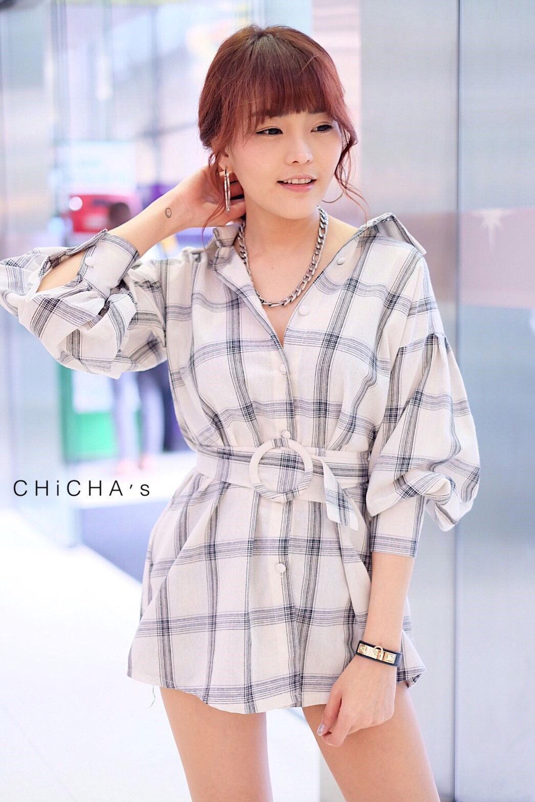 เดรสเชิ้ต Checked Dress Shirt