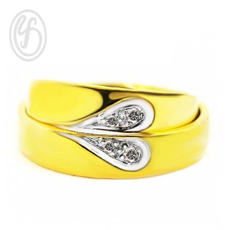 แหวนคู่รัก แหวนเงินแท้ 925 ชุบทองคำแท้ แหวนประกบเป็นรูปหัวใจ ฝังเพชร cz เพชรสังเคราะห์ เหมาะเป็นแหวนหมั้น แหวนแต่งงาน ของขวัญสำหรับคนพิเศษ