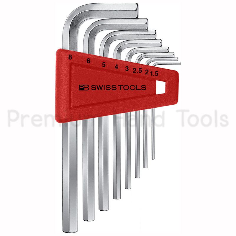 หกเหลี่ยมชุด PB Swiss Tools หัวตัด สั้น รุ่น PB 210 H-8 (8 ตัว/ชุด)
