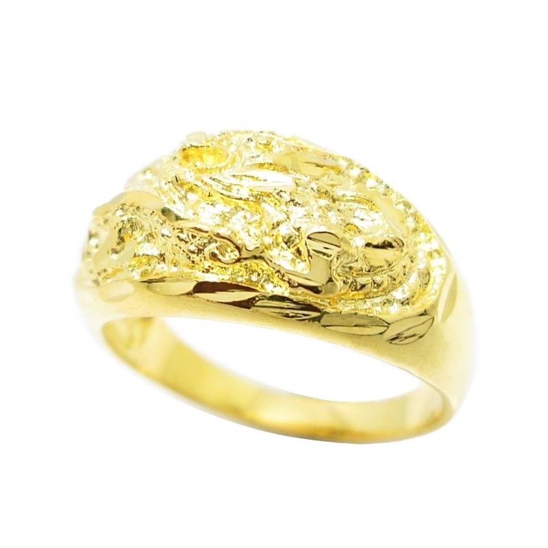 แหวนตัดลายแกะสลักลวดลายมังกรชุบทอง