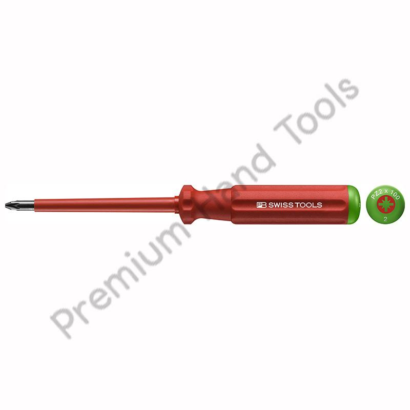 ไขควงไฟฟ้า PB Swiss Tools รุ่น PB 5192 ปาก PZ ด้ามแดงหุ้มฉนวนกันไฟ เบอร์ 1 และ 2