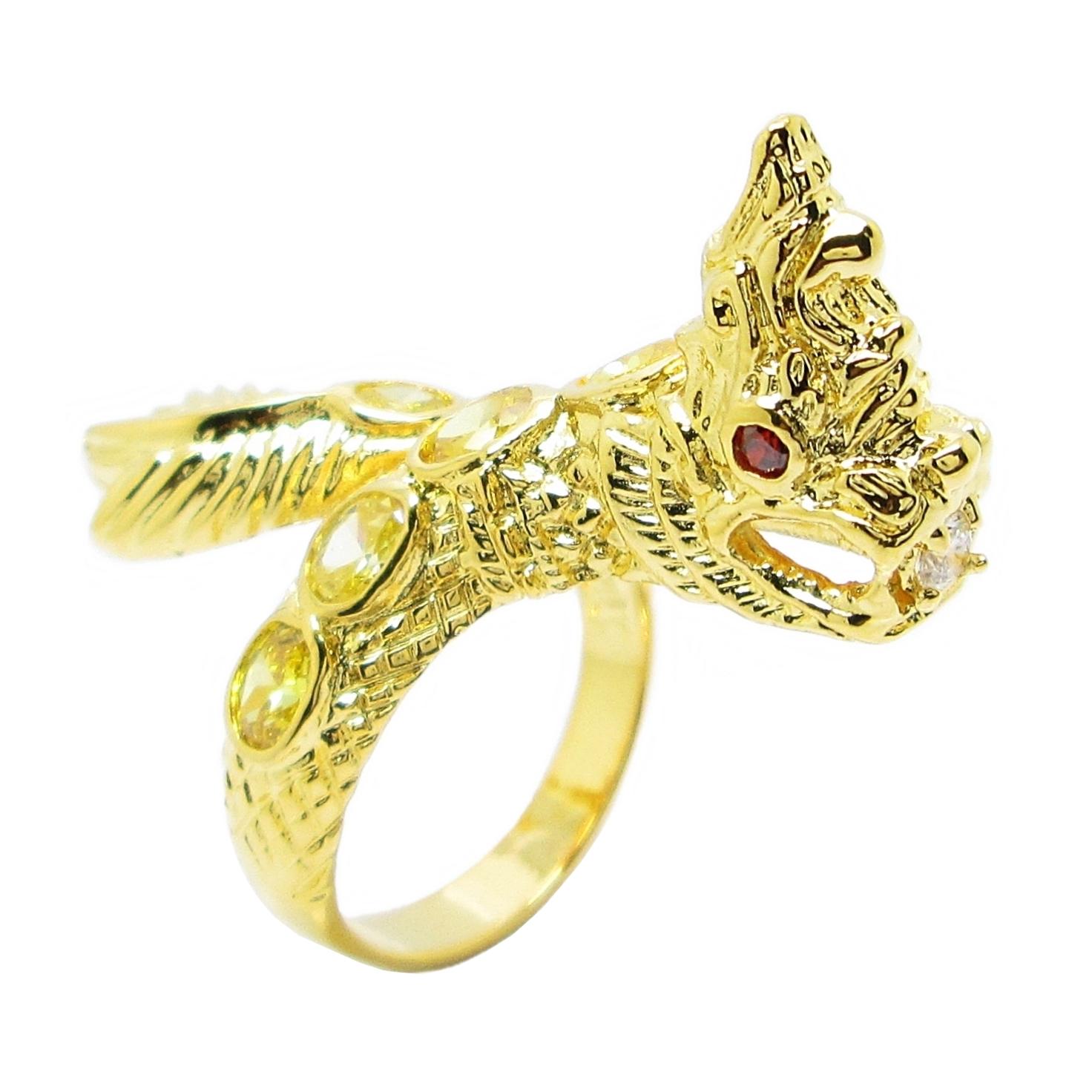 แหวนฟรีไซส์พญานาคประดับพลอยบุศราคัมชุบทอง