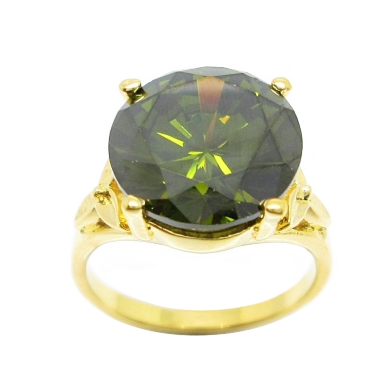 แหวนประดับพลอยกลมสีเขียวส่องชุบทอง