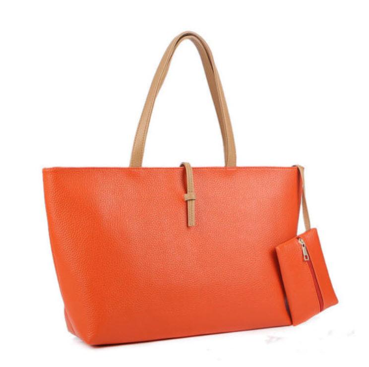 กระเป๋าหิ้วหนัง สีส้ม พร้อมกระเป๋าสตางค์