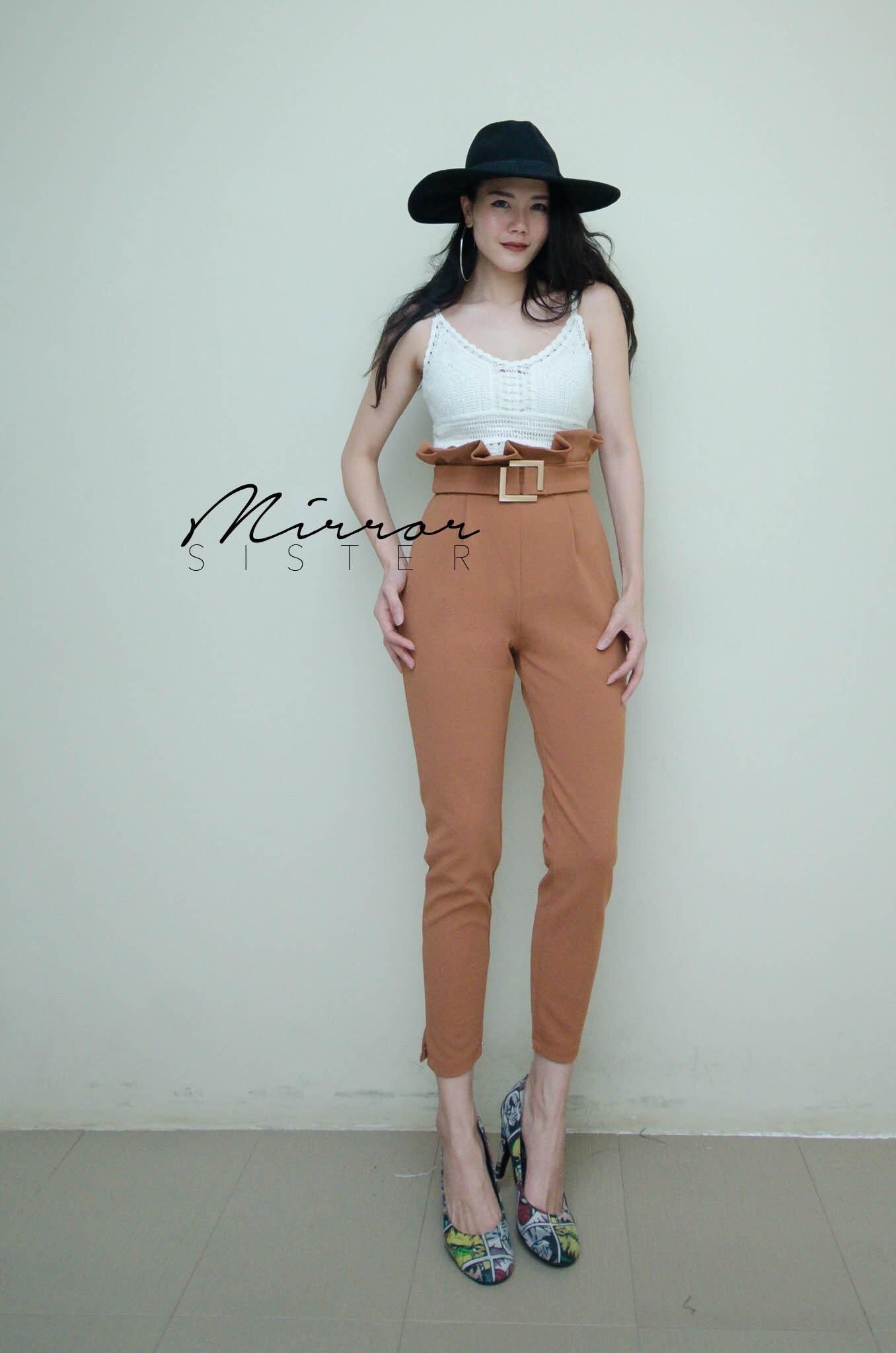 กางเกงเอวสูงแฟชั่น ส้มอิฐ