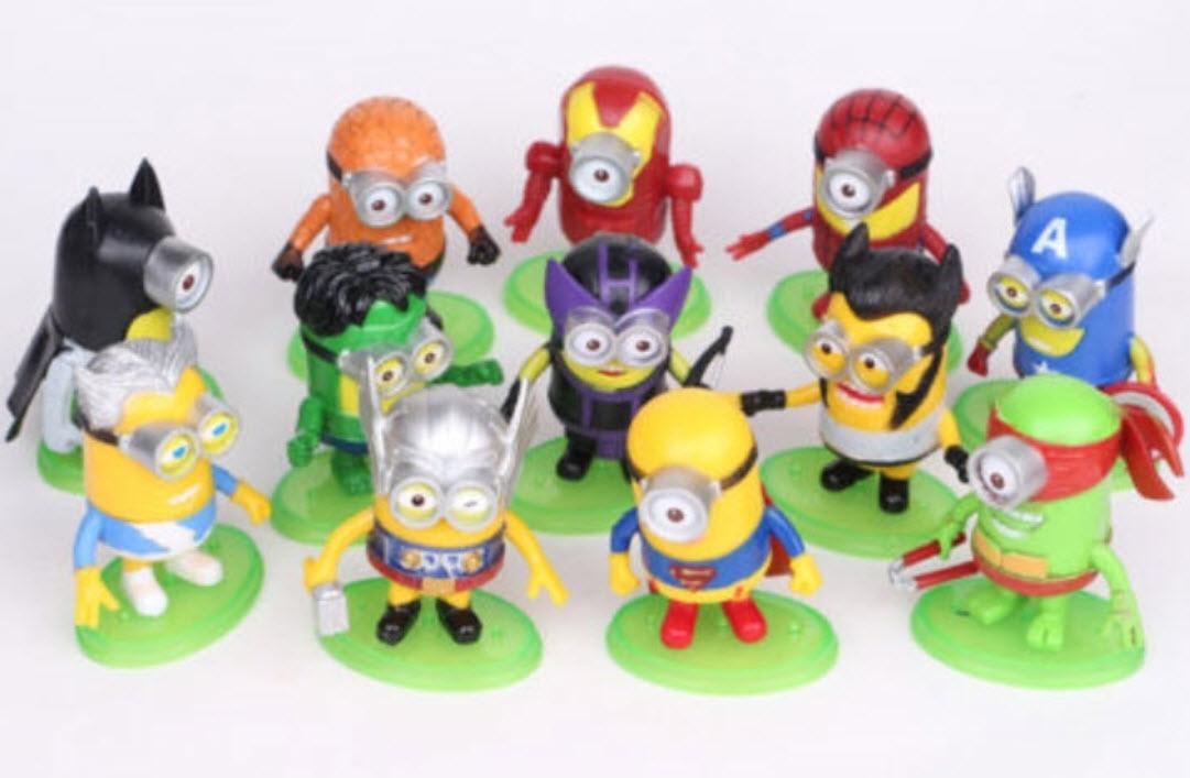 โมเดล Super Hero Minions ชุด 12 ตัว ขนาด 3 นิ้ว