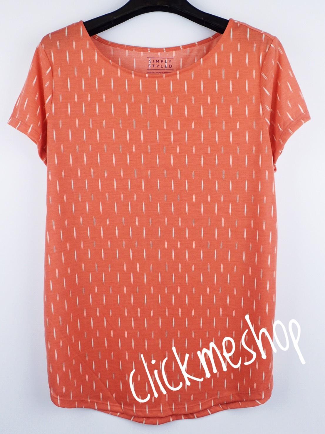 (ไซส์ L หน้าอก 42-44 นิ้ว) เสื้อยืดผ้านิ่ม สีส้มลายธนู ยี่ห้อ simply คอปาดหน่อยๆน่ารักคะ