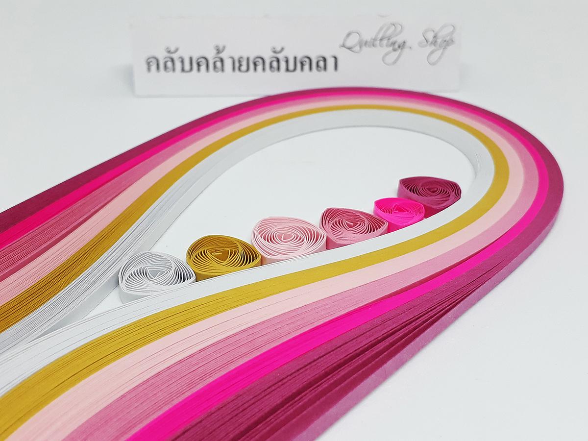กระดาษ 3mm โทนสีชมพู 6 สี รวม 120 เส้น (Quilling paper strips 3 mm pink tone)