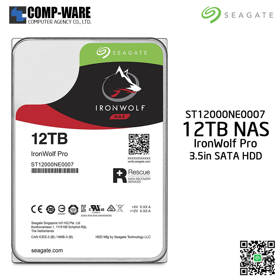 Seagate 12TB IronWolf Pro 7200RPM SATA 6Gb/s 256MB Cache 3.5-Inch NAS Hard Disk Drive (ST12000NE0007)