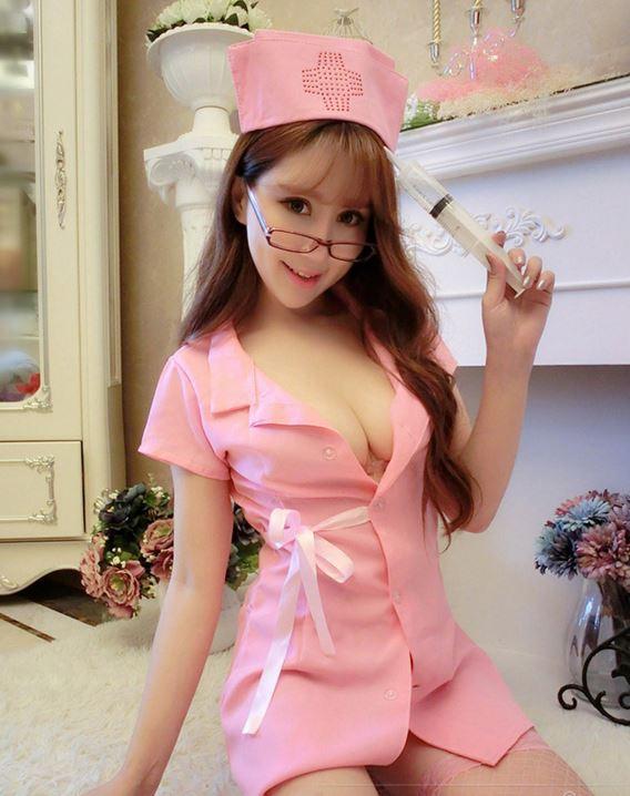 ชุดพยาบาลเดรสผูกข้างสีชมพู(2307) (ฟรีไซต์)