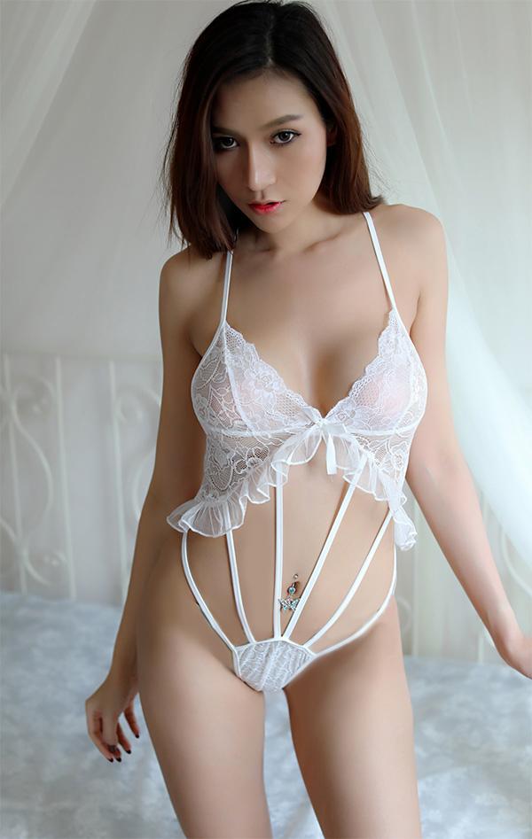 ชุดนอนเร้าใจสีขาว(6141) (S / M / L / XL / XXL)