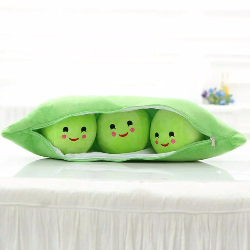 ตุ๊กตาถั่ว มีถั่วข้างใน 3 เม็ด ไว้กอด ไว้หนุน เป็นหมอน นำเข้า ถู๊กถูก Cute Peas Plush