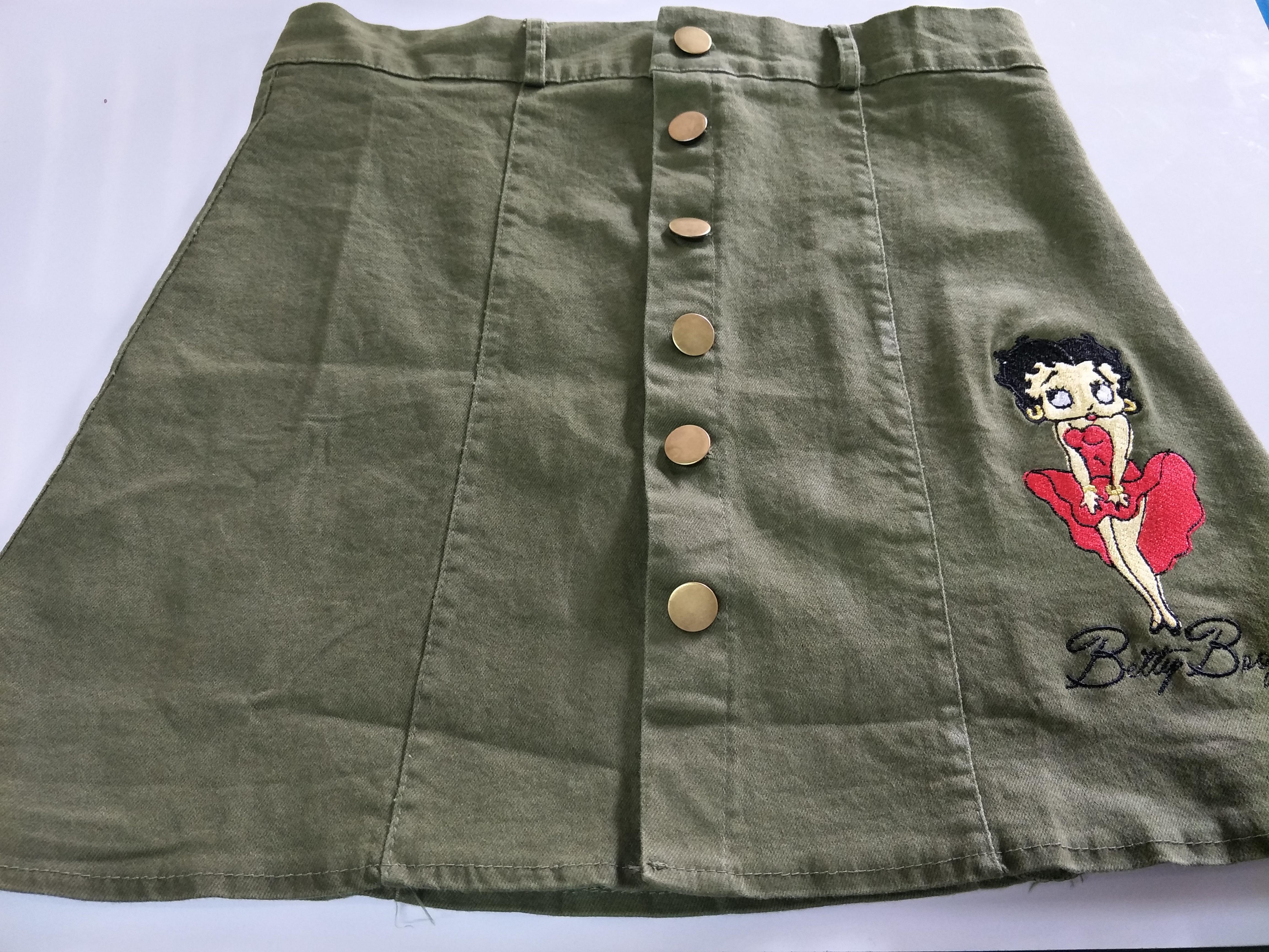 SJ0001กระโปรงยีนส๋เอวสูง mini skirt ปักลาย Betty Boop