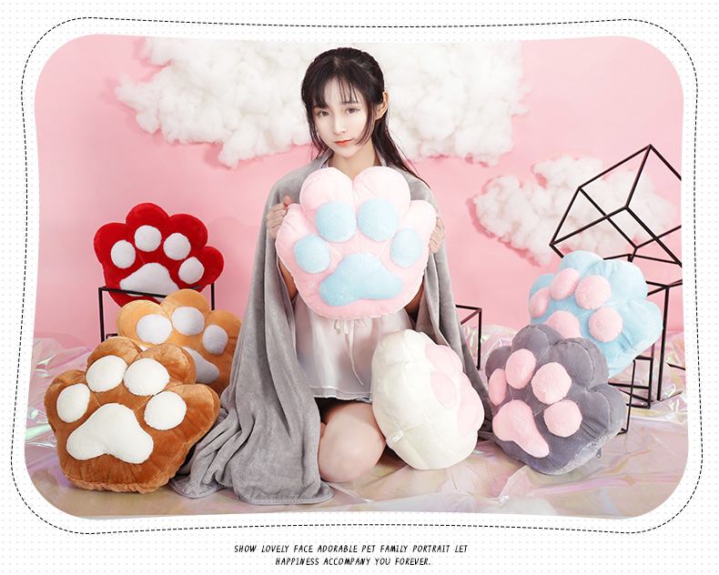 SC0013 Free ปักชื่อบนผ้าห่ม!! ตุ๊กตาหมอนผ้าห่มรูปเท้าแมว สีชมพู ฟุ้งฟิ้ง