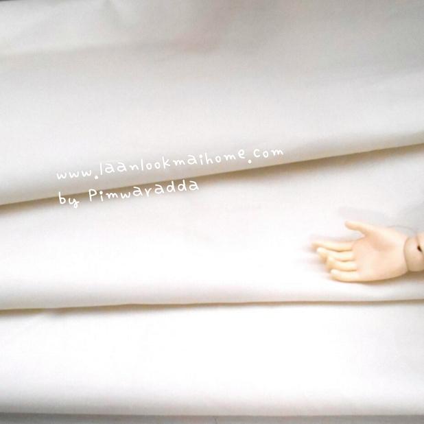 ผ้าพื้นคอตตอน~ สีขาวธรรมชาติ หนาปกติหาจากตลาดในไทย12 m