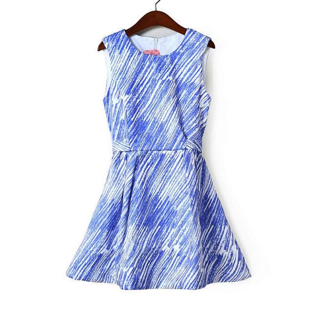 [Preorder] เดรสแฟชั่นแขนกุดสไตล์ยุโรป สีฟ้าขาว (ไซส์ M L) European and American Fan 2014 Cotton Flax base skirt round neck sleeveless vest skirt dress skirt skirt Slim fashion