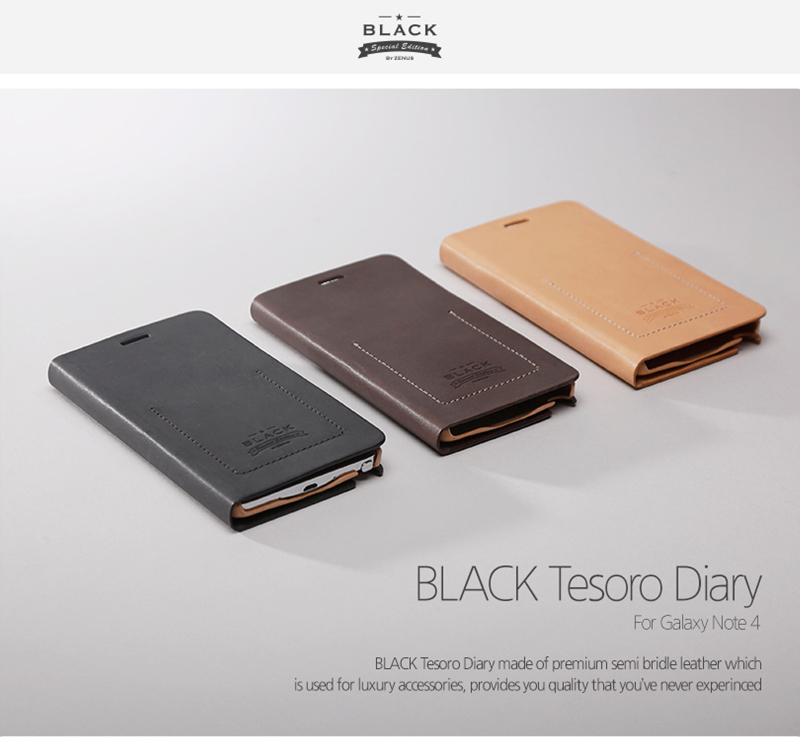 Zenus : BLACK Tesoro Diary Italian Leather Cover Case For Galaxy Note 4