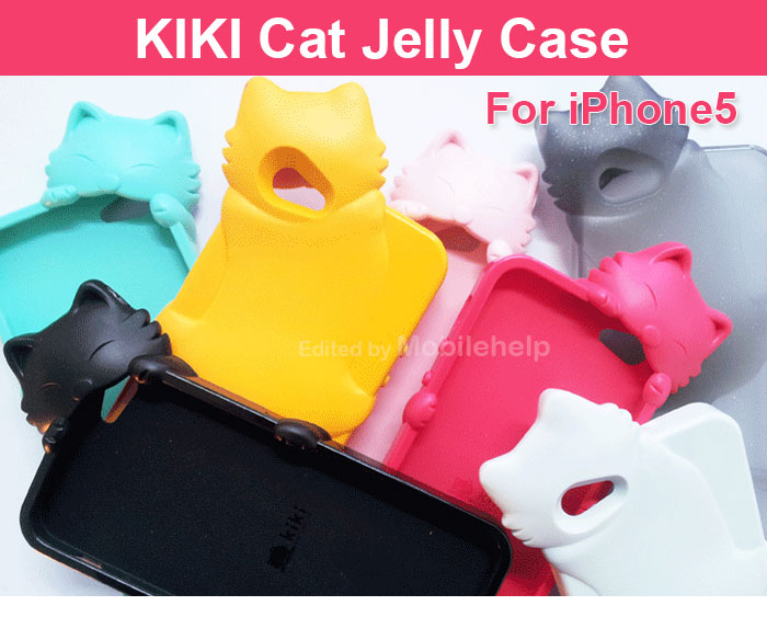 KIKI Cat : Jelly Cute Cat Character Cover Case for iPhone 5