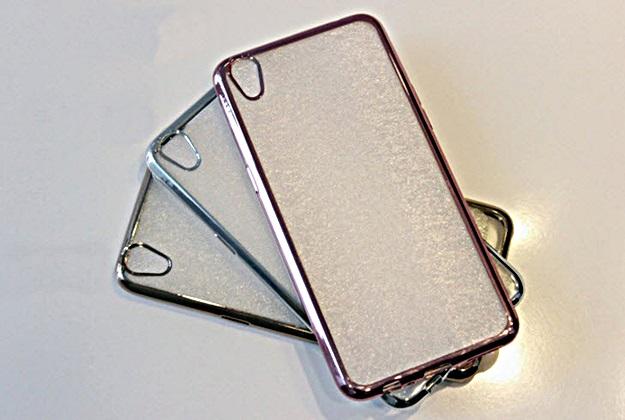 (440-067)เคสมือถือ Case OPPO F1 Plus (R9) เคสนิ่มใสขอบชุบแวว