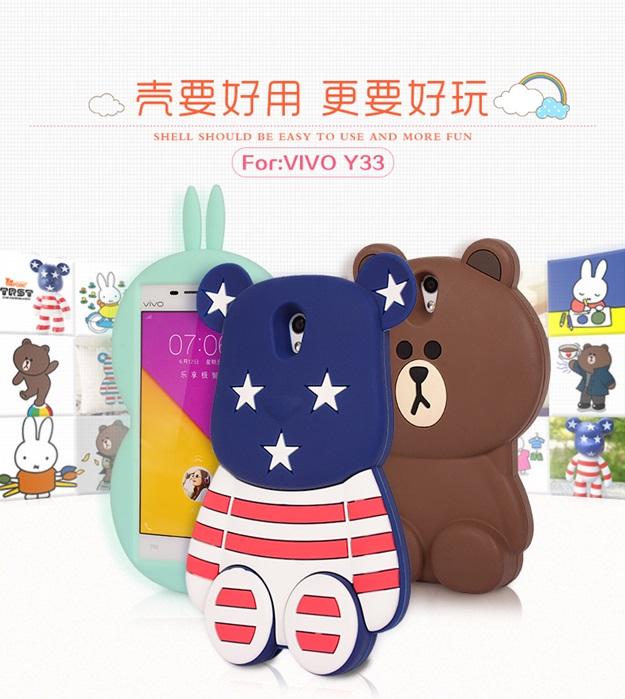(013-016)เคสมือถือวีโว่ Vivo Y33 เคสนิ่มตัวการ์ตูนกระต่ายและหมี 3D