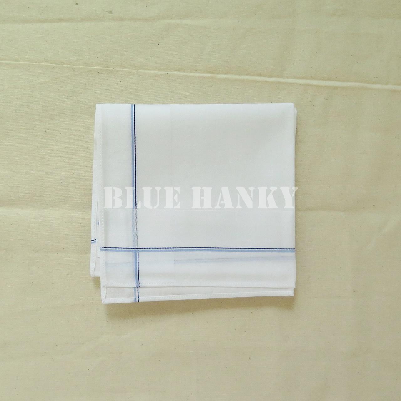 ผ้าเช็ดหน้าผู้ชายอย่างดี สีขาวขอบเส้นเล็กสีฟ้า