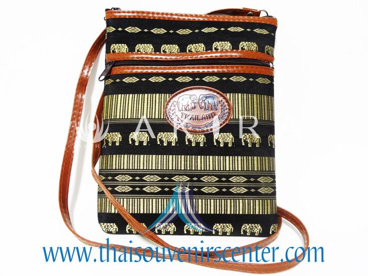 ของฝากจากไทย กระเป๋าสะพายลายช้างสายหนัง แบบ 3 สีดำ
