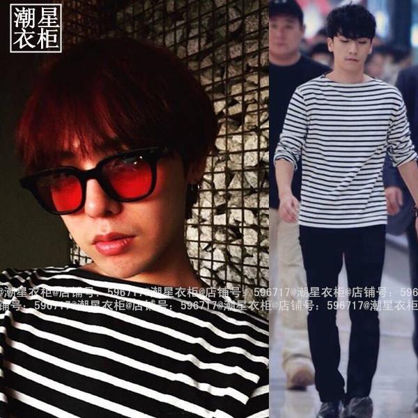 เสื้อแขนยาวขาวดำ Sty.G-Dragon GOT7 -ระบุไซต์-