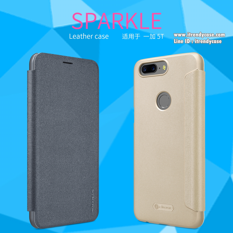 OnePlus 5T - เคสฝาพับ Nillkin Sparkle leather case แท้