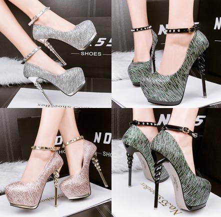 รองเท้าส้นสูง ไซต์ 34-39 สีดำ สีเงิน สีทอง
