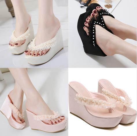 รองเท้าส้นเตารีด ไซต์ 35-39 สีดำ/ขาว/ชมพู