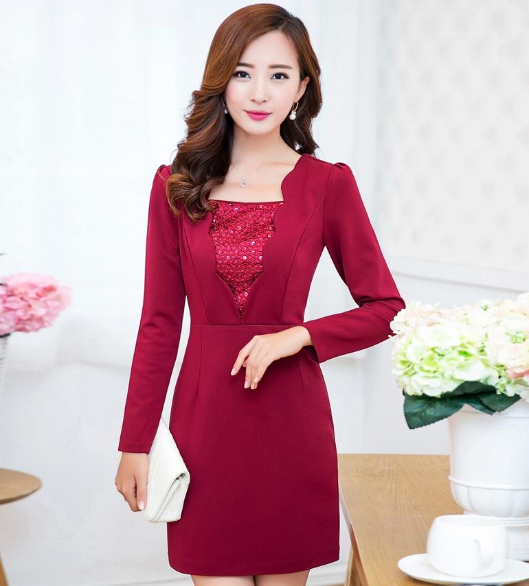 (สีแดง XL) ชุดเดรสแซกสั้น แขนยาว กระโปรงทรงเอ ผ้าสเปนเด็ก ผ้าหนามีน้ำหนักซิปหลัง (ใหม่ พร้อมส่ง) ร้าน Ladyshop4u