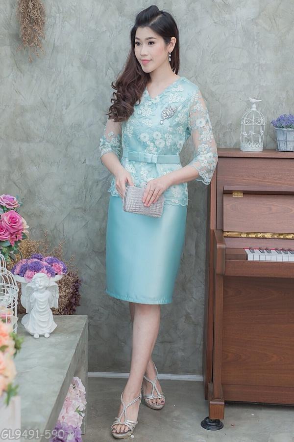 (Size XL) ชุดไปงานแต่งงาน ชุดไปงานแต่งสีเขียวมินท์ Set เสื้อลูกไม้แขนสามส่วน ด้านในเย็บซับในอย่างดีทั้งตัว