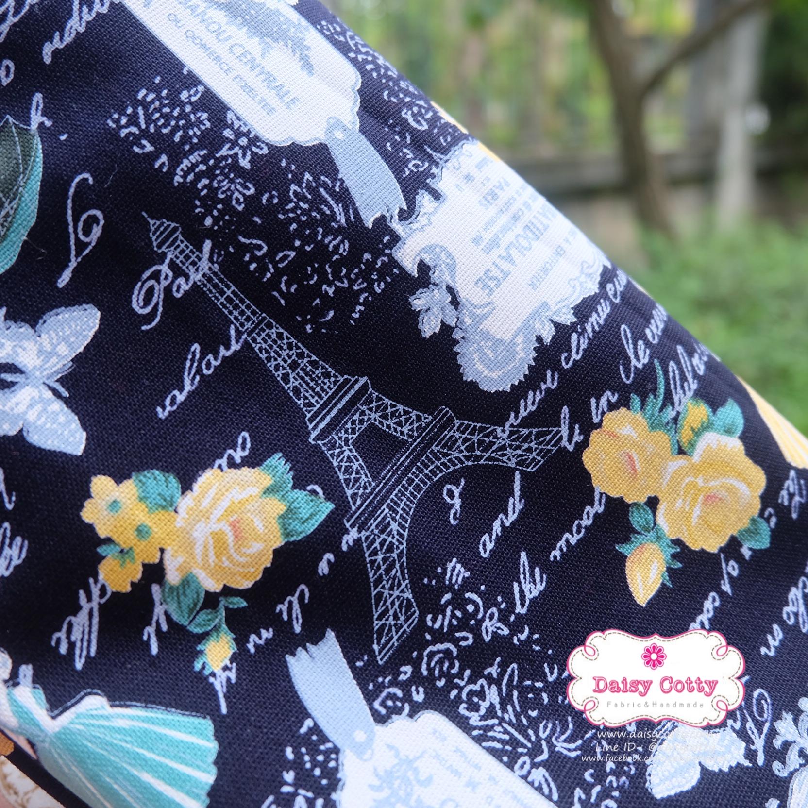 ผ้าคอตตอนลินิน 1/4ม.(50x55ซม.) ลายวินเทจ โทนสีกรมท่า