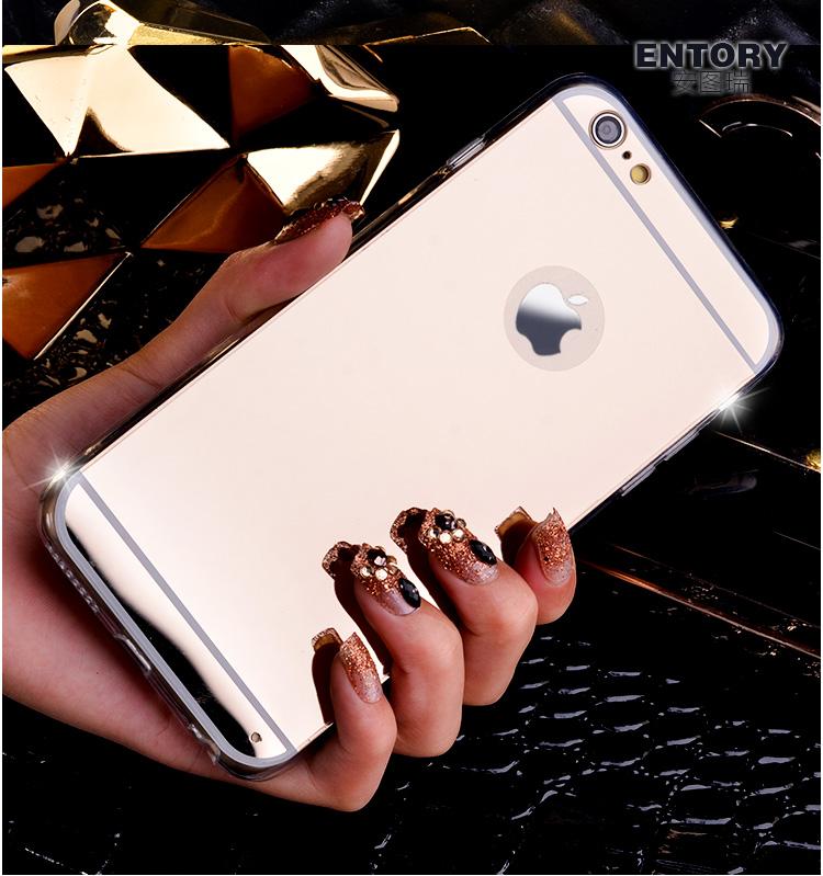 เคสไอโฟน 7 (TPU CASE) เคลือบฟิล์มกระจกสีทองชมพู