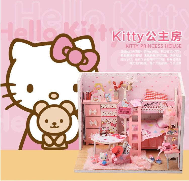 ฉาก DIY ห้องนอน Kitty. สีชมพู