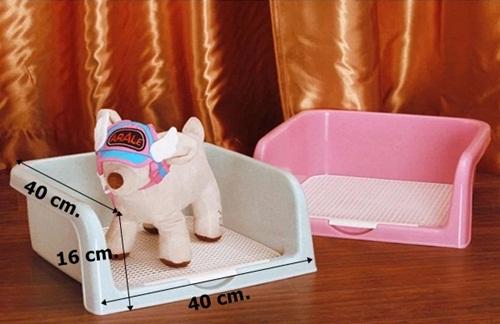 ห้องน้ำสุนัขแบบมีขอบกั้นสีชมพู