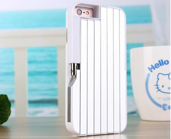 เคสไอโฟน7 (2 In 1 เคสไอโฟน+ไม้เซลฟี่ในตัว) (Hard Case Selfie Stick Protective Sleeve) สีขาว ฟรี Remote Bluetooh