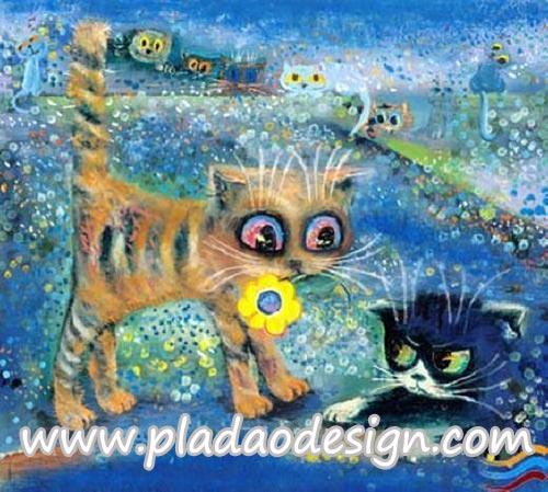 กระดาษสาพิมพ์ลาย สำหรับทำงาน เดคูพาจ Decoupage แนวภาพ การ์ตูนอย่างอา์ร์ต 2 แมวเหมียว ทะเลาะกัน แมวดำทำหน้าโกรธแมวทอง แมวทองคาบดอกไม้มาง้อแมวดำ