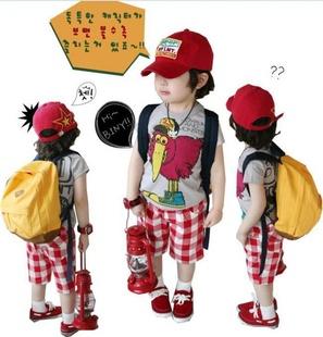 Huanzhu kids ชุดเซตเด็ก เสื้อสกรีนรูปนก smile +กางเกง ลายสกอตสีขาวแดง น่ารักสไตล์เกาหลี เก๋มากค่ะ